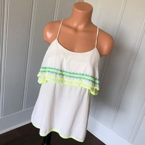 Judith March Embroidered Ruffle Racerback Top S